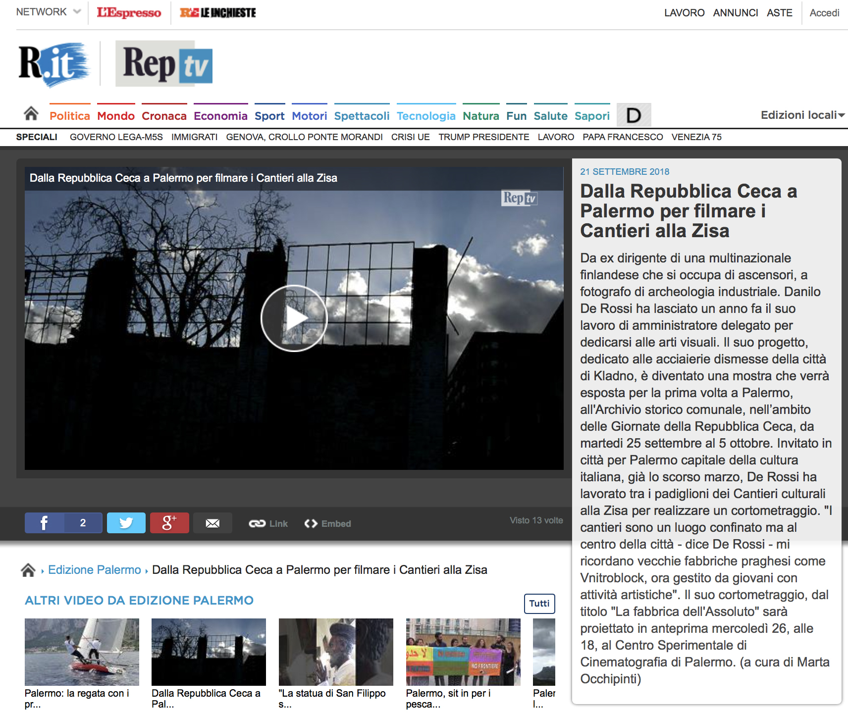 An article from Repubblica with a video on my events in Palermo