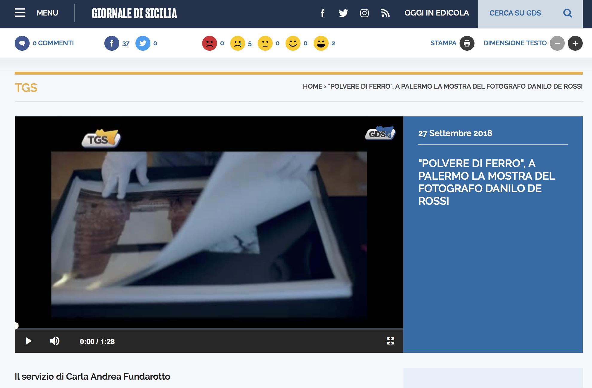 A reportage for Giornale di Sicilia by Carla Andrea Fundarotto of the exhibition in Palermo  here for the video