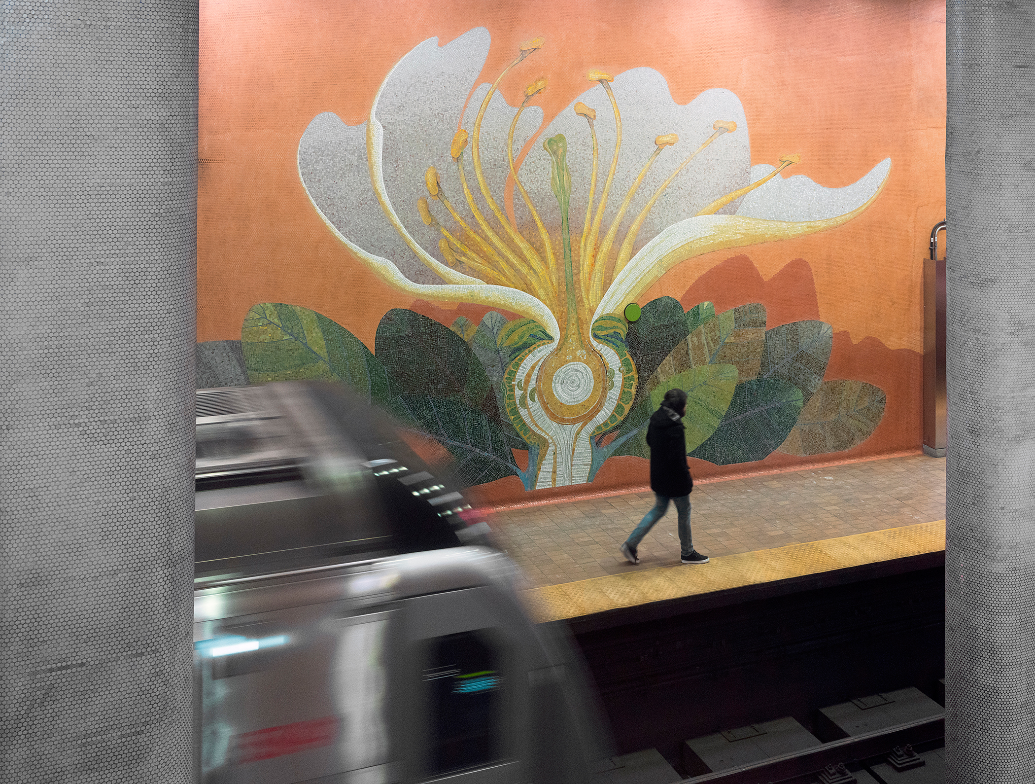 Spadina Summer Under all Seasons (1978) by James Sutherland, Located in the Dupont Subway Station. Photo by Matthew Monteith