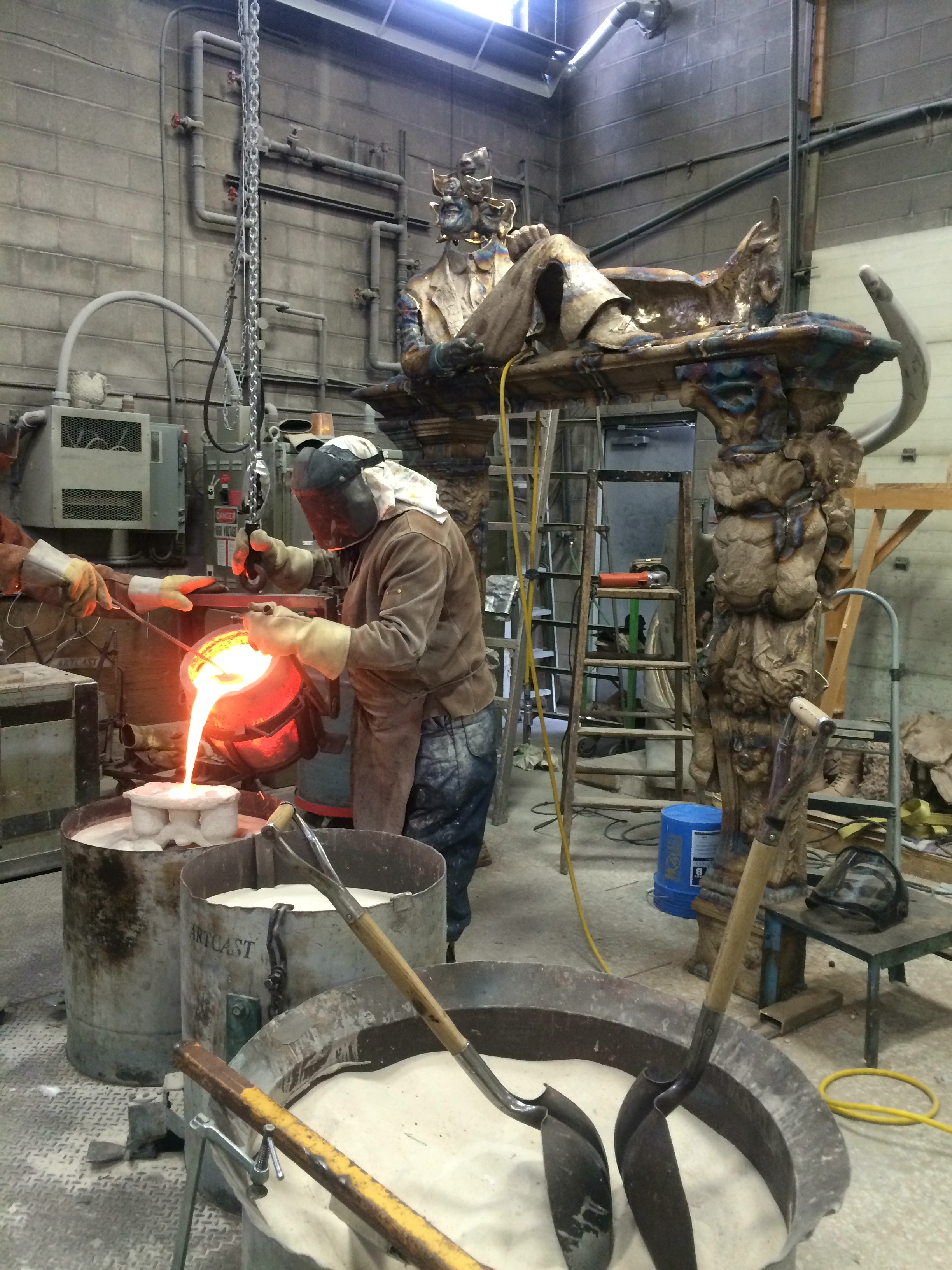 Foundry Pouring, Process Photo. Courtesy of Hadley+Maxwell.
