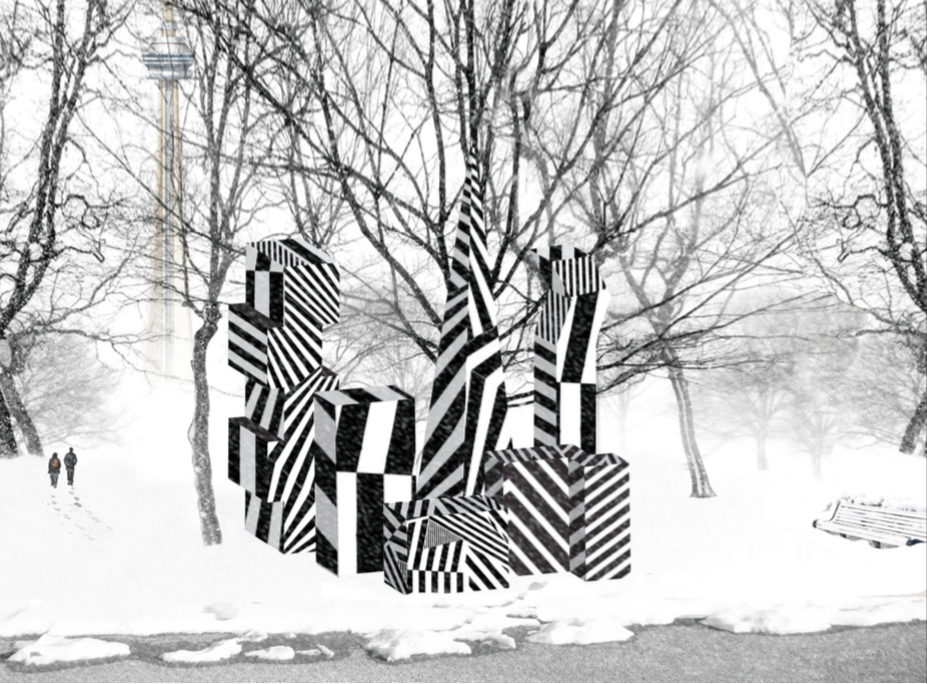 Incognito by Curio Art Consultancy and Jaspal Riyait, Rees Street Parkette. Using architectural massing models as the inspiration for the structures, 'Incognito' explores what happens when you make the City's architectural interventions invisible. Adopting the same camouflaging technology used by warships, the wintery environment will render the installation truly incognito, shaping the public's interaction with the piece.