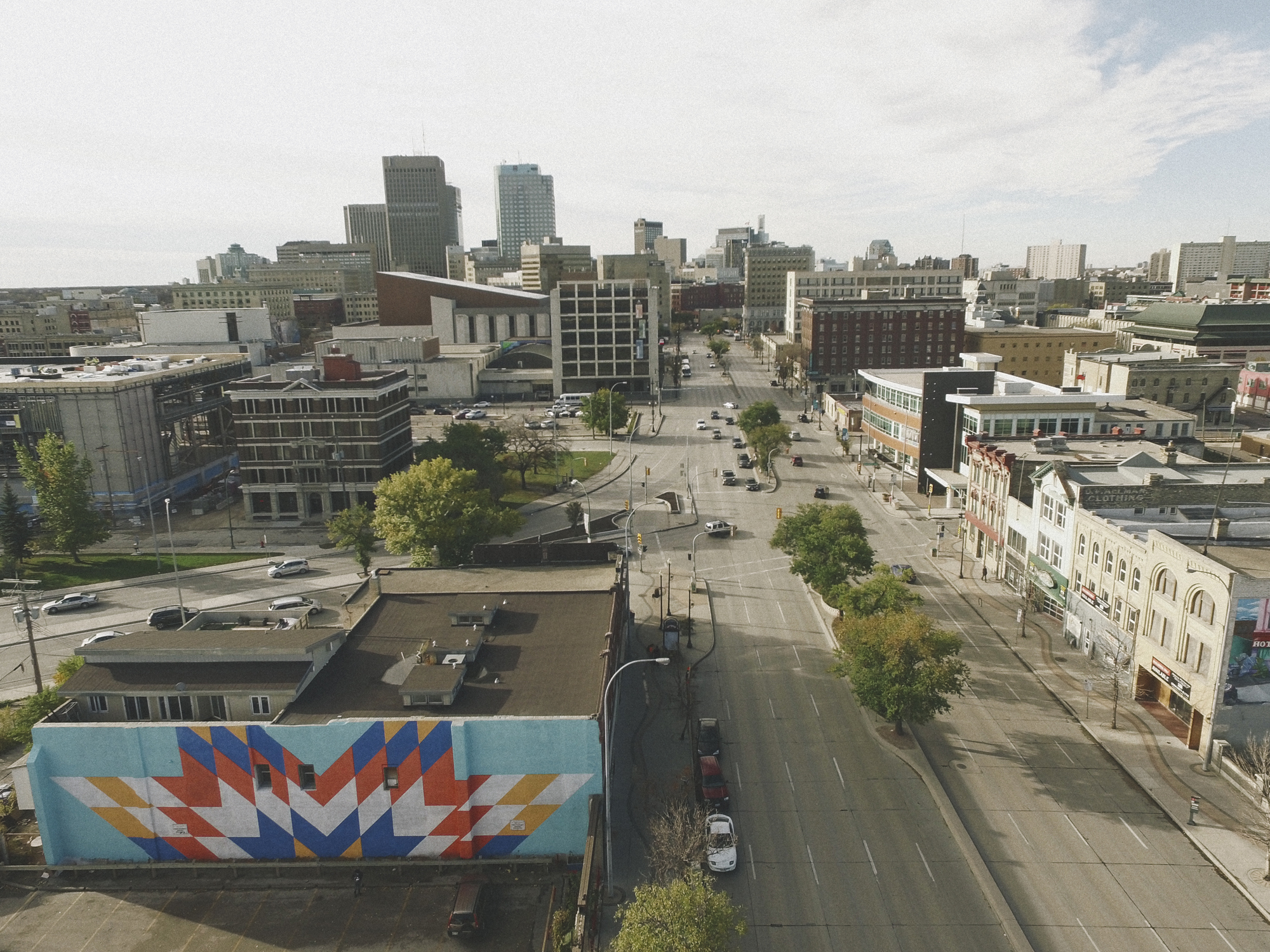 Aerial view showing   Star Blanket Project  – Edge Gallery by Kenneth Lavallee. Photo by Jonathan Ventura.