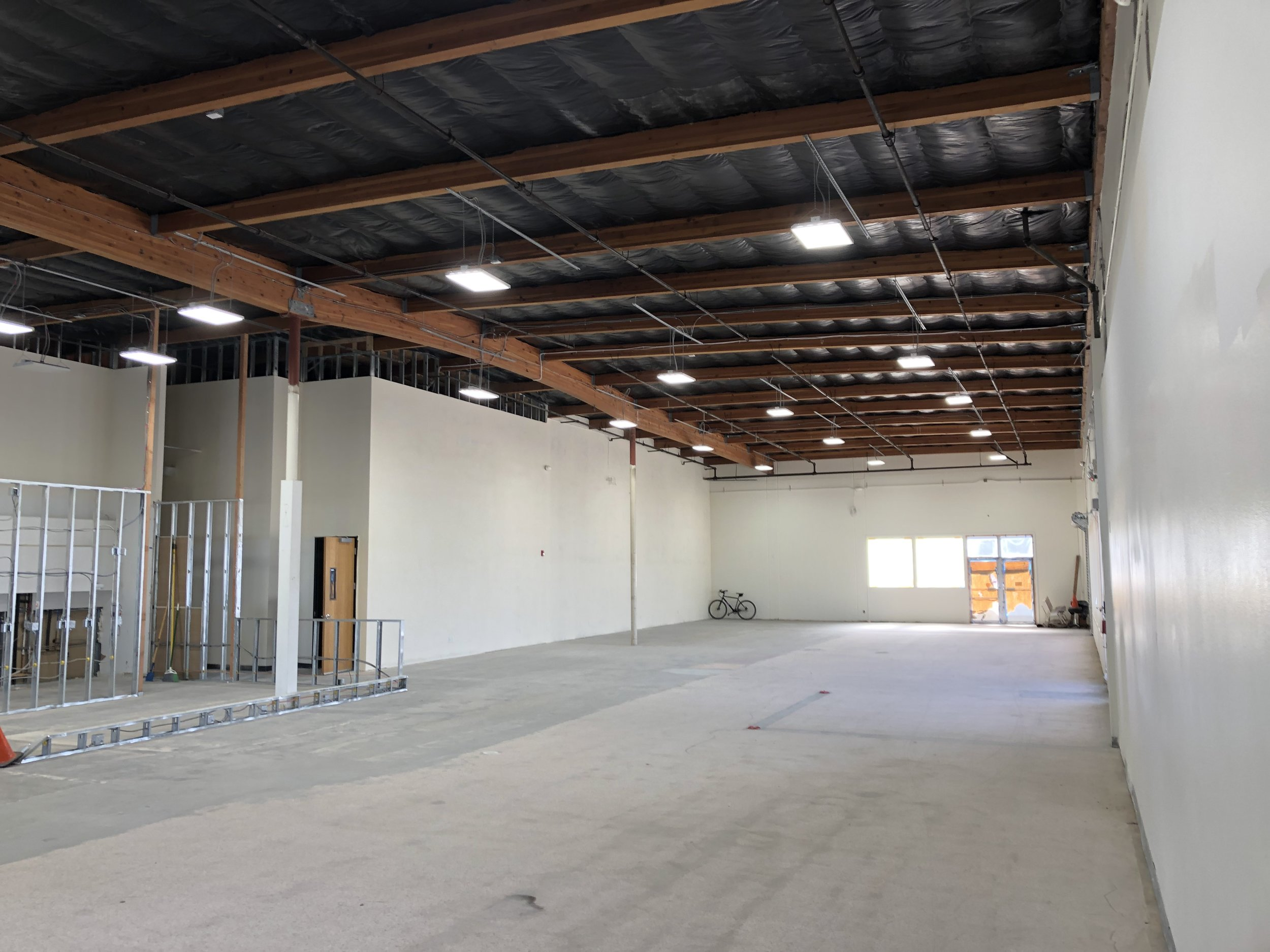 This place is BIG! Here is the main front space, 120' x 41', bigger than the old gym all by itself and there is another 5000+ sq ft. to play with.