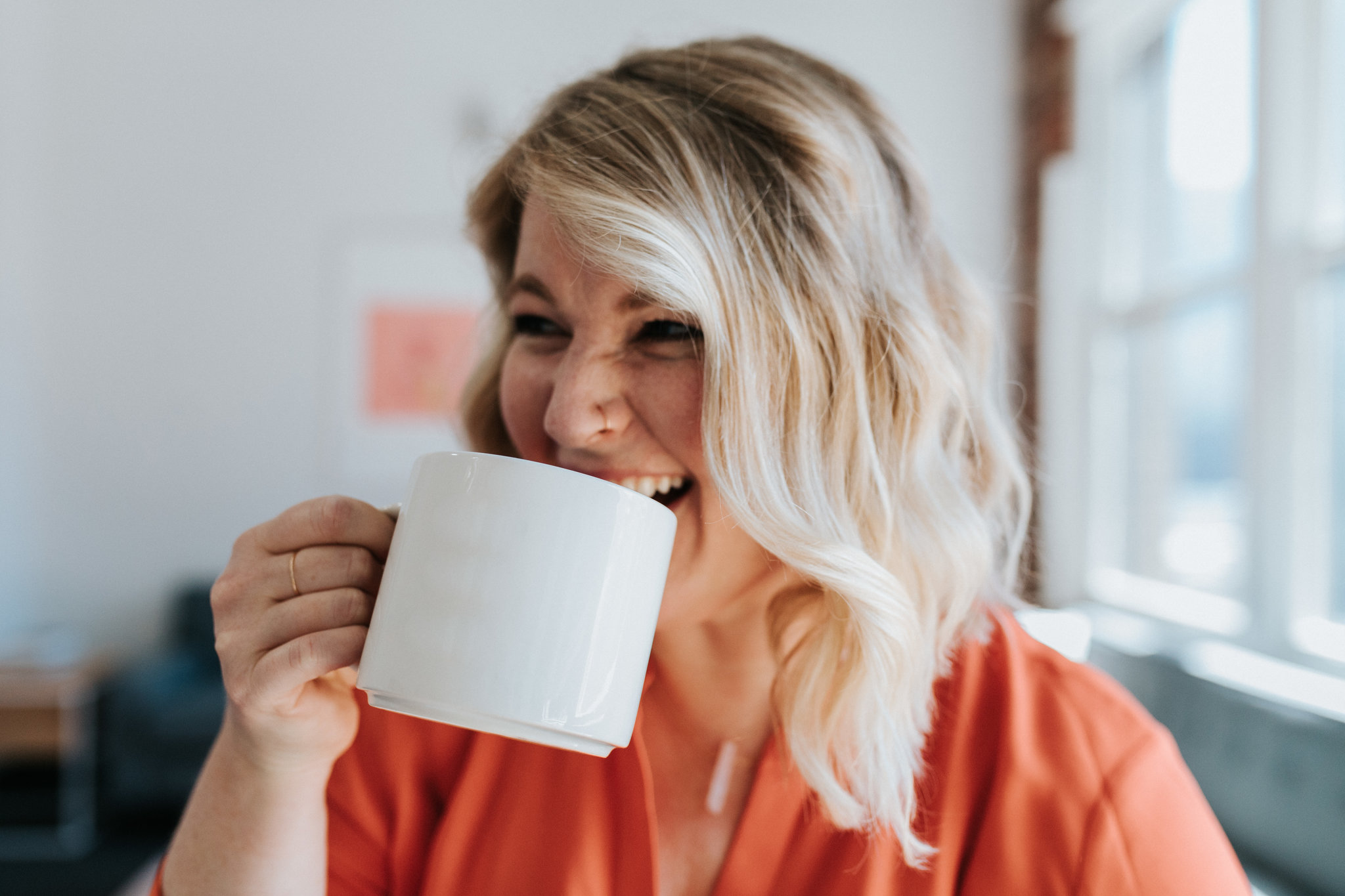 Also known for laughing maniacally while drinking coffee out of a large mug.