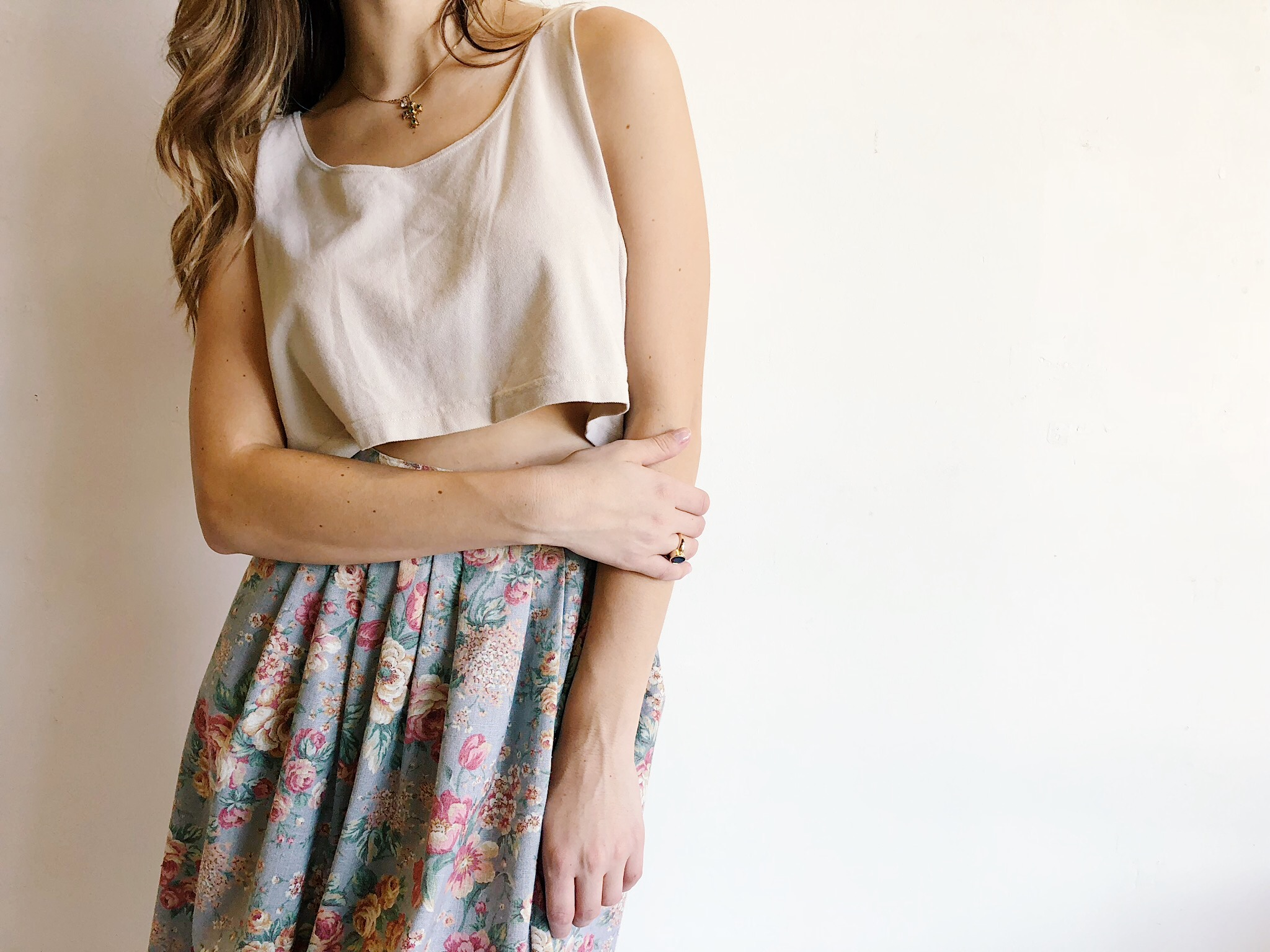 80s 90s Muted Floral Midi Skirt Wonsaponatime Vintage