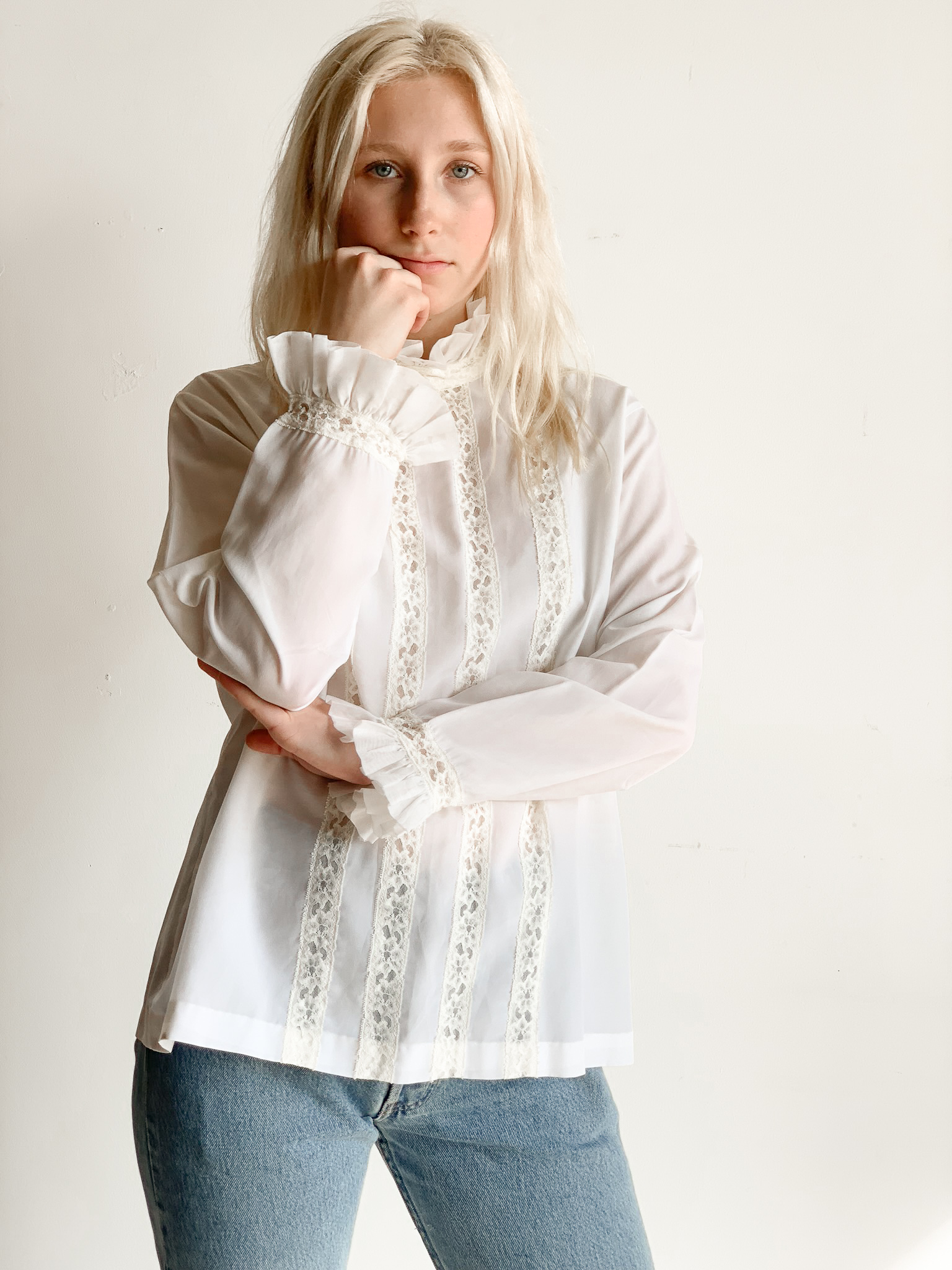 70s Victorian Style Blouse W/ Lace + Pleating Details