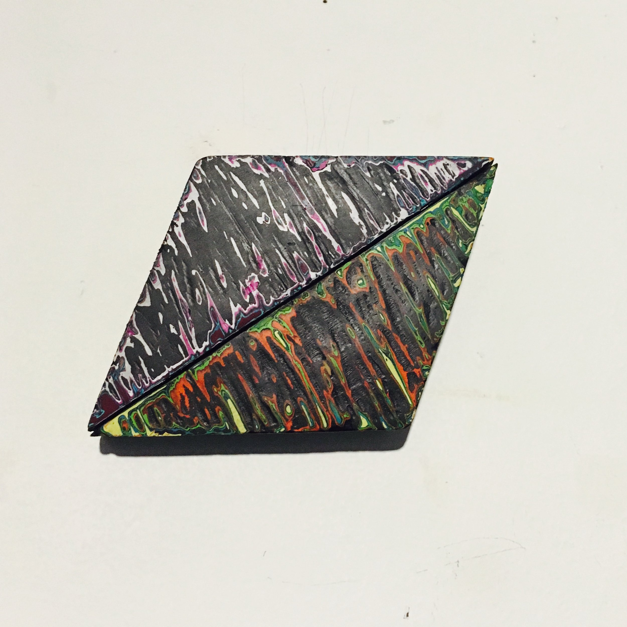 """Rhombus 5 Reduced Acrylic on Found Wood, Diptych 2015 3""""x4"""" SOLD"""