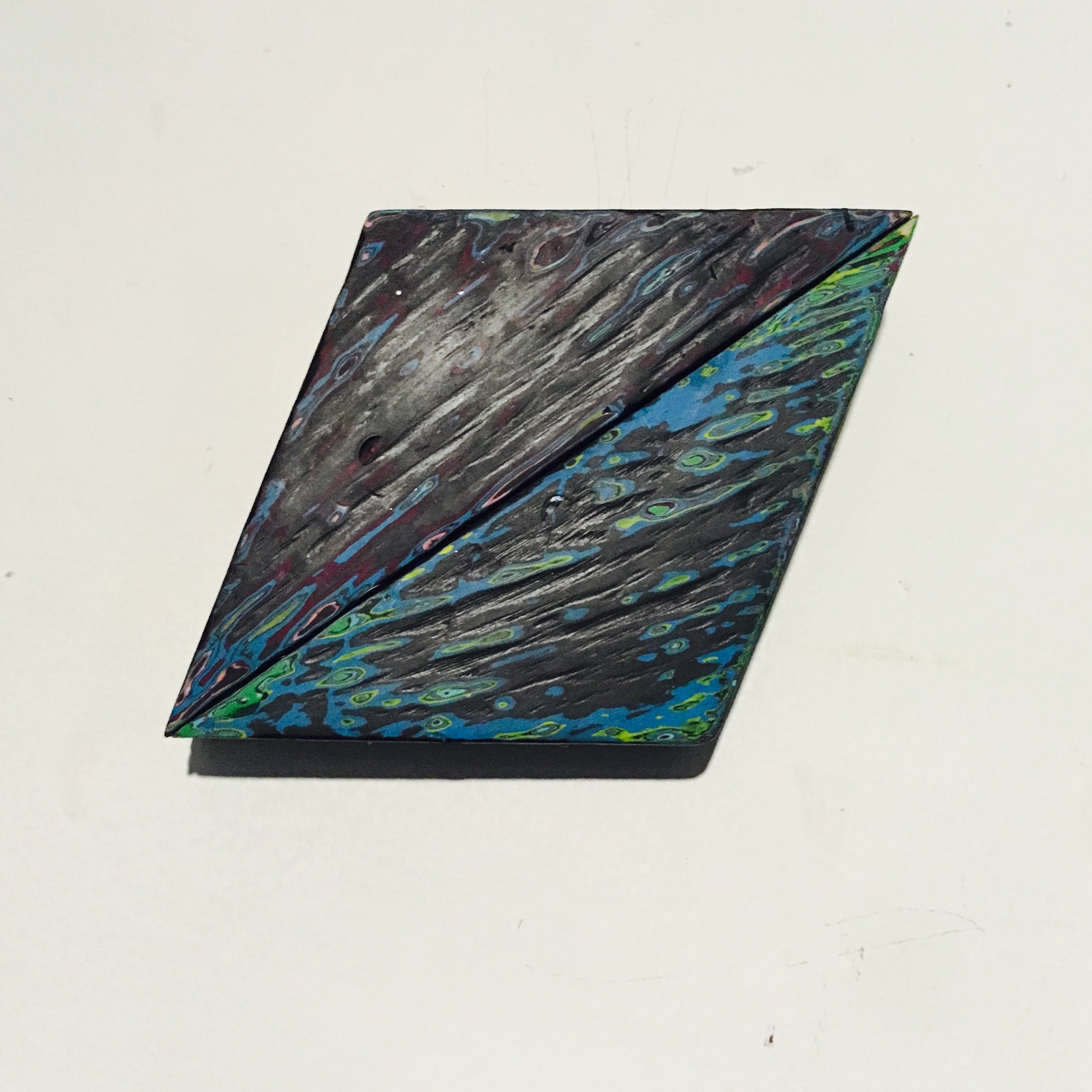 "Rhombus 3 Reduced Acrylic on Found Wood, Diptych 2015 3""x4"" SOLD"