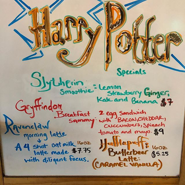 Some magic specials for your weekend! Stop in and cast your favorite spell, discuss what house you're in and check out our Harry Potter art!  Cue Harry Potter music  SoutheastGrindspecialsboard #harrypotter #segrind #alwaysopen #magicspecials #magicfolk #muggleswelcome #greatcoffee #smoothies #portlandoregon #pdxcoffeescene #southeastgrind #harrypotterart #portlandrestaurants #portlandcafes #24hourportland #24hourcoffee #harrypottermonth