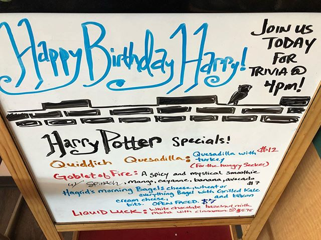 #harrypottersbirthday #harrypottertrivia #southeastgrind #segrind #afternooninportland #pdxcoffeescene #prizes #harrypotterday #alwaysopen