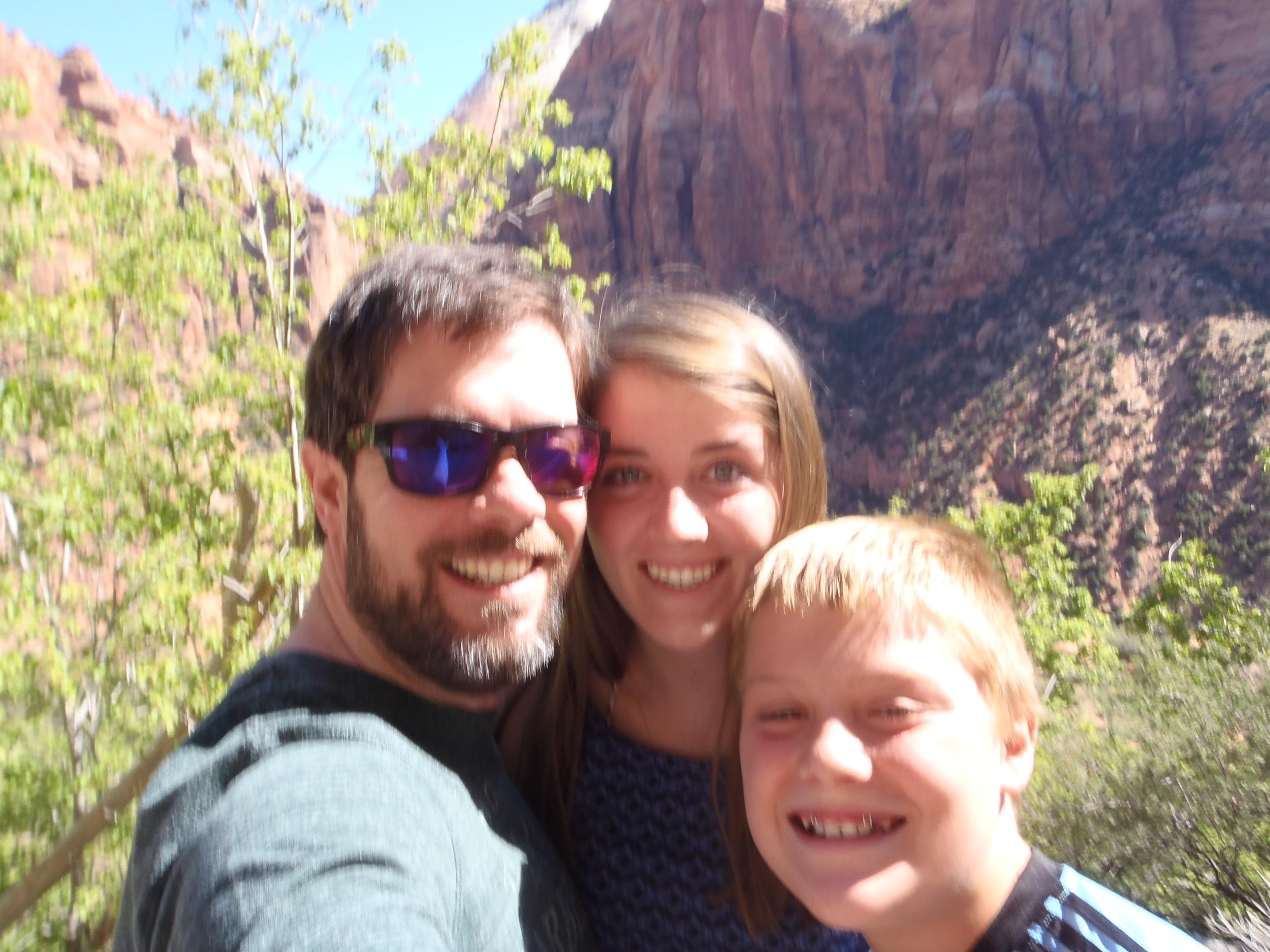 Brandon enjoys hiking with his kids.
