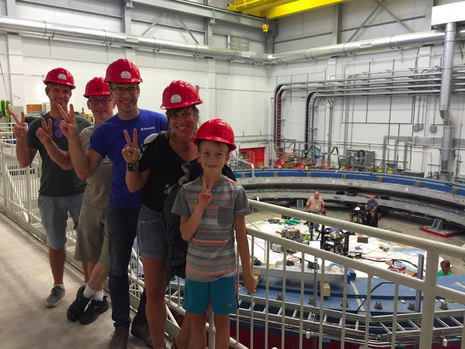 A tour of the g-2 experiment at Fermilab (Kiel is in the blue shirt, Ronan is the short one :) )
