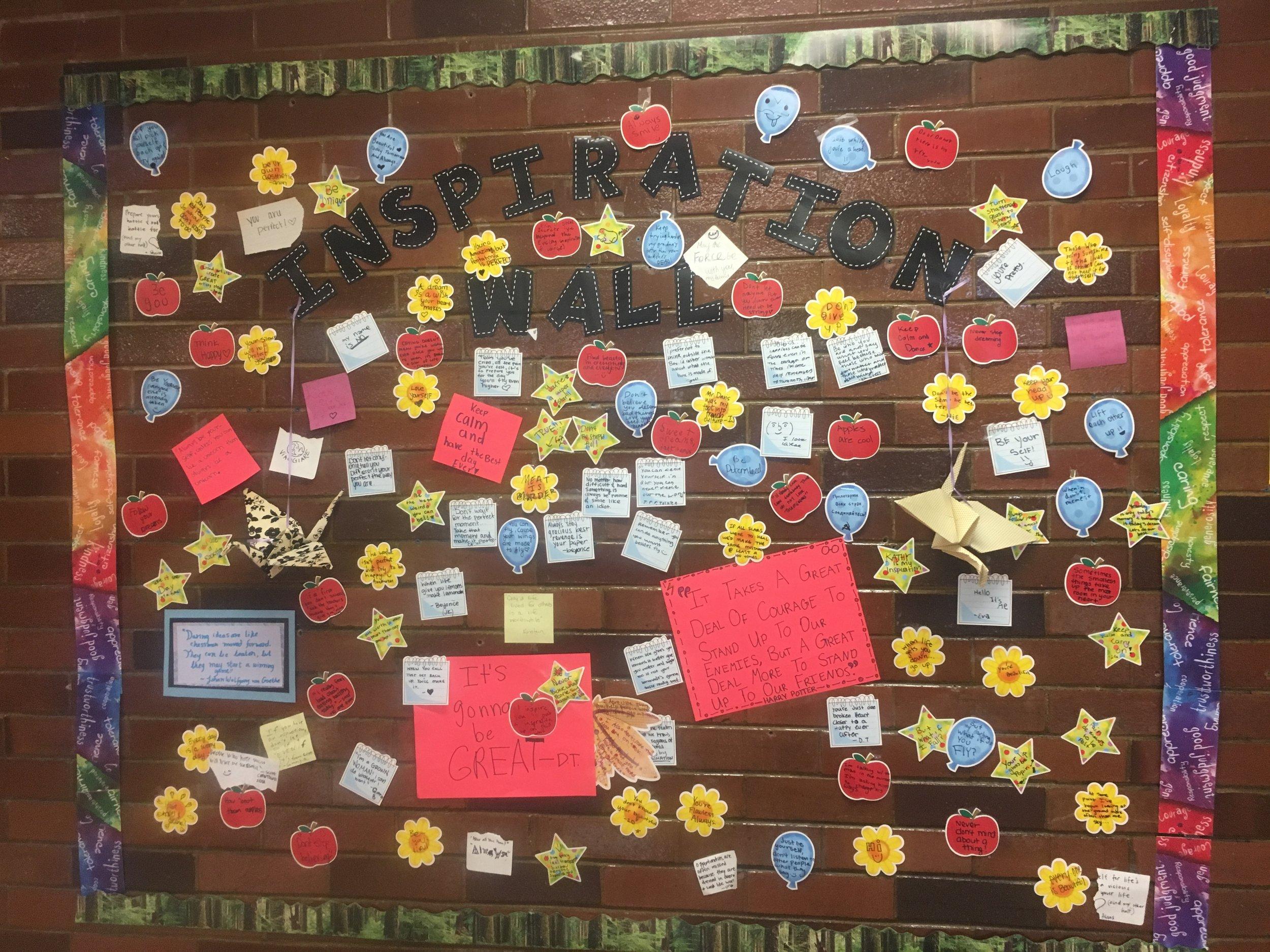 An inspiration wall created at SLCSE.