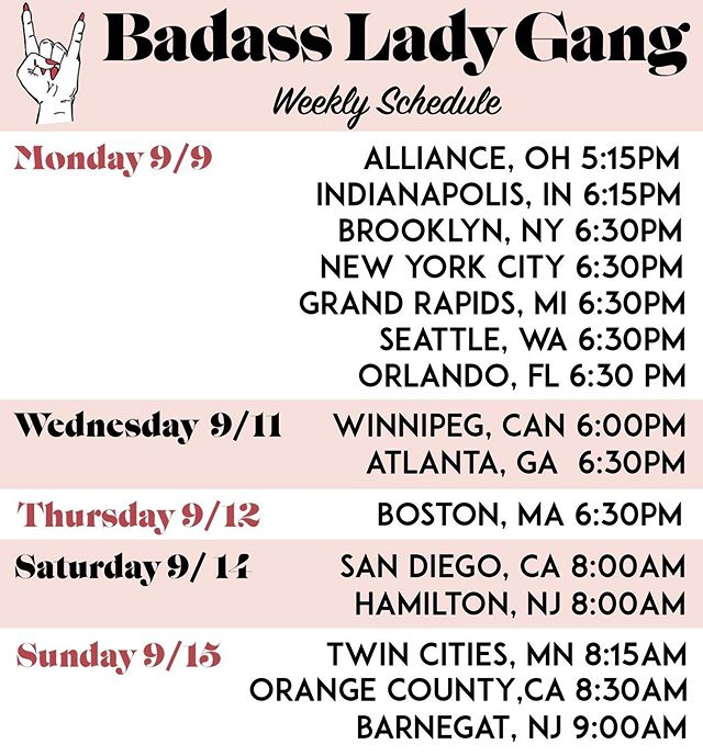 Another week is here!!! Who are we seeing at a #badassladygang meetup this week? Head to badassladygang.com for more info on when and where you can join a fun run! ALL ATHLETIC LEVELS WELCOME. You'll never be left behind. Promise. We're not your normal run club. We're a fun run club. 🤘 See you out there!