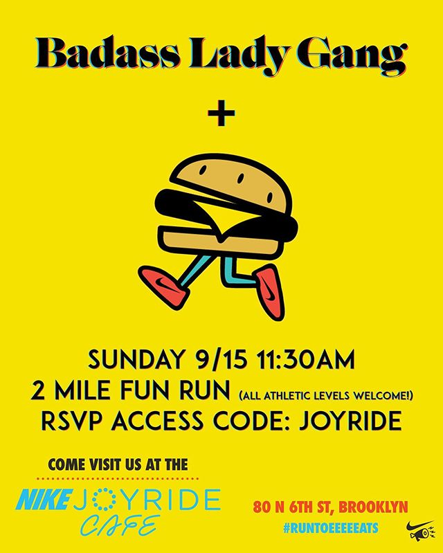 2 mile fun run + free post fun run #eaaaaats + #badassladygang = 😍😍😍😍😍😍 click the link in our bio if you're in the NYC area this Sunday and looking for something fun to do.