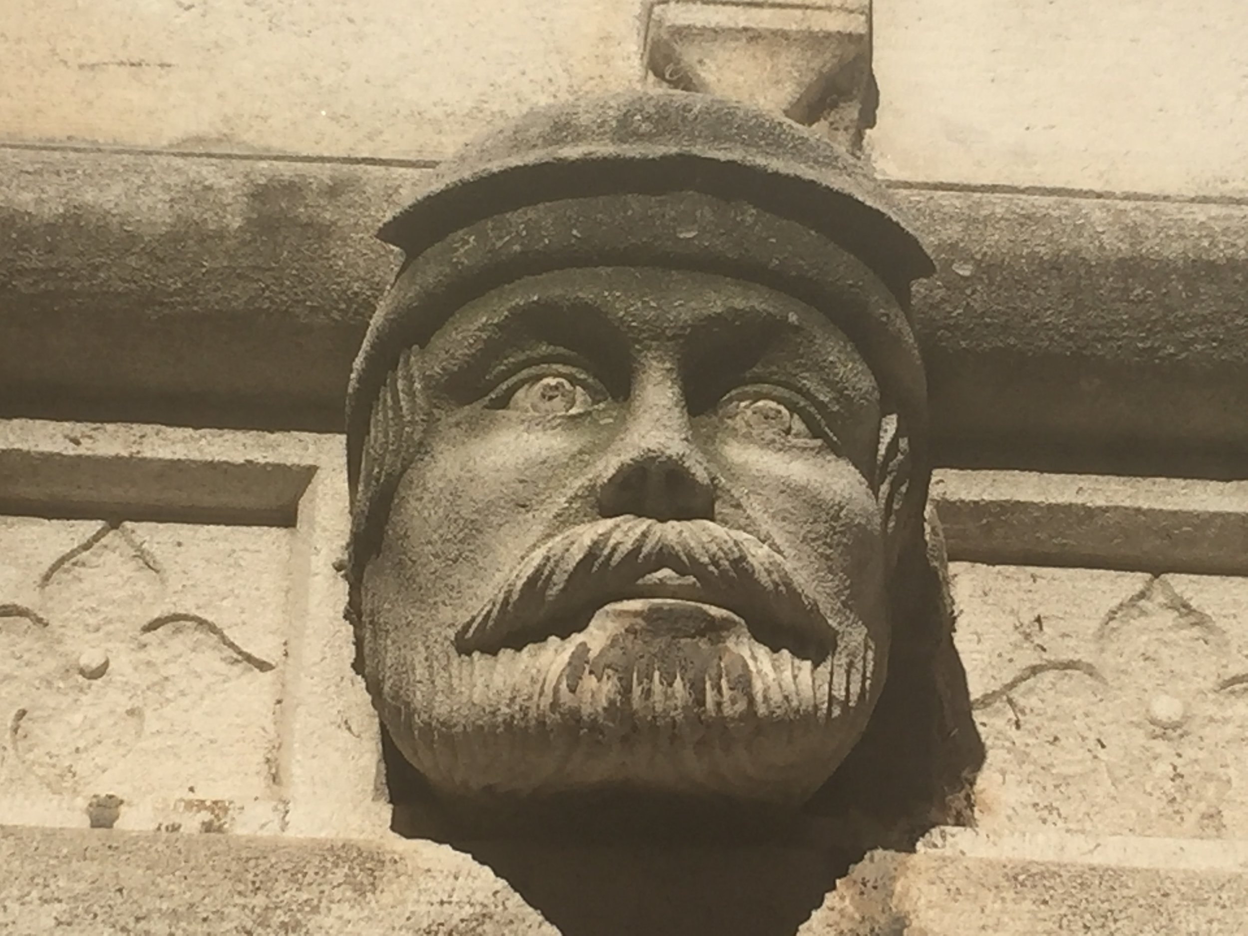 A beautiful head adorning the facade of the Cathedral of St. James.