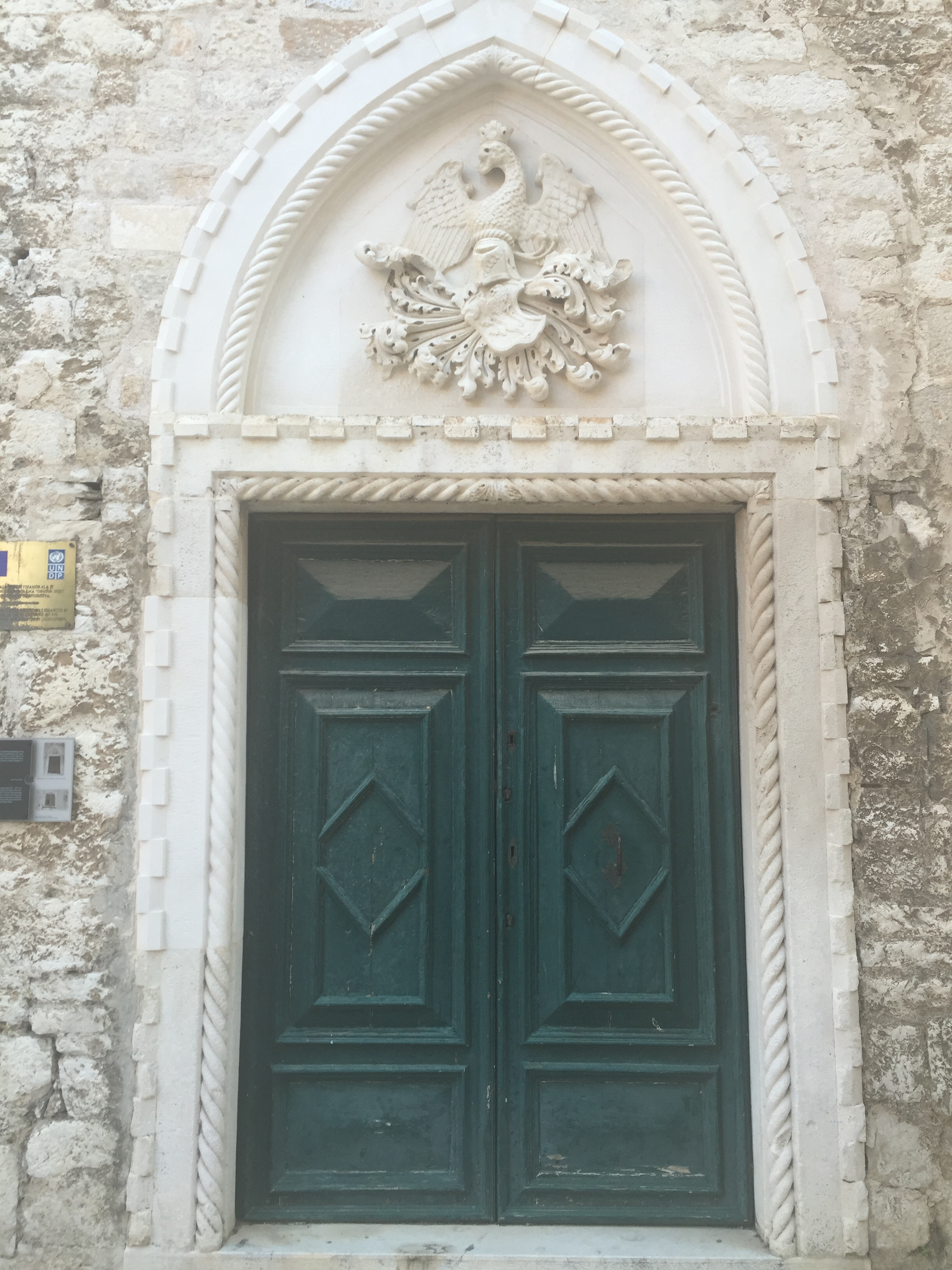 The door of the Palazzo Rossini. Simply stunning and ornate. The coat of arms shows a dragon with a crown on it's head (not an eagle as was customary at the time).