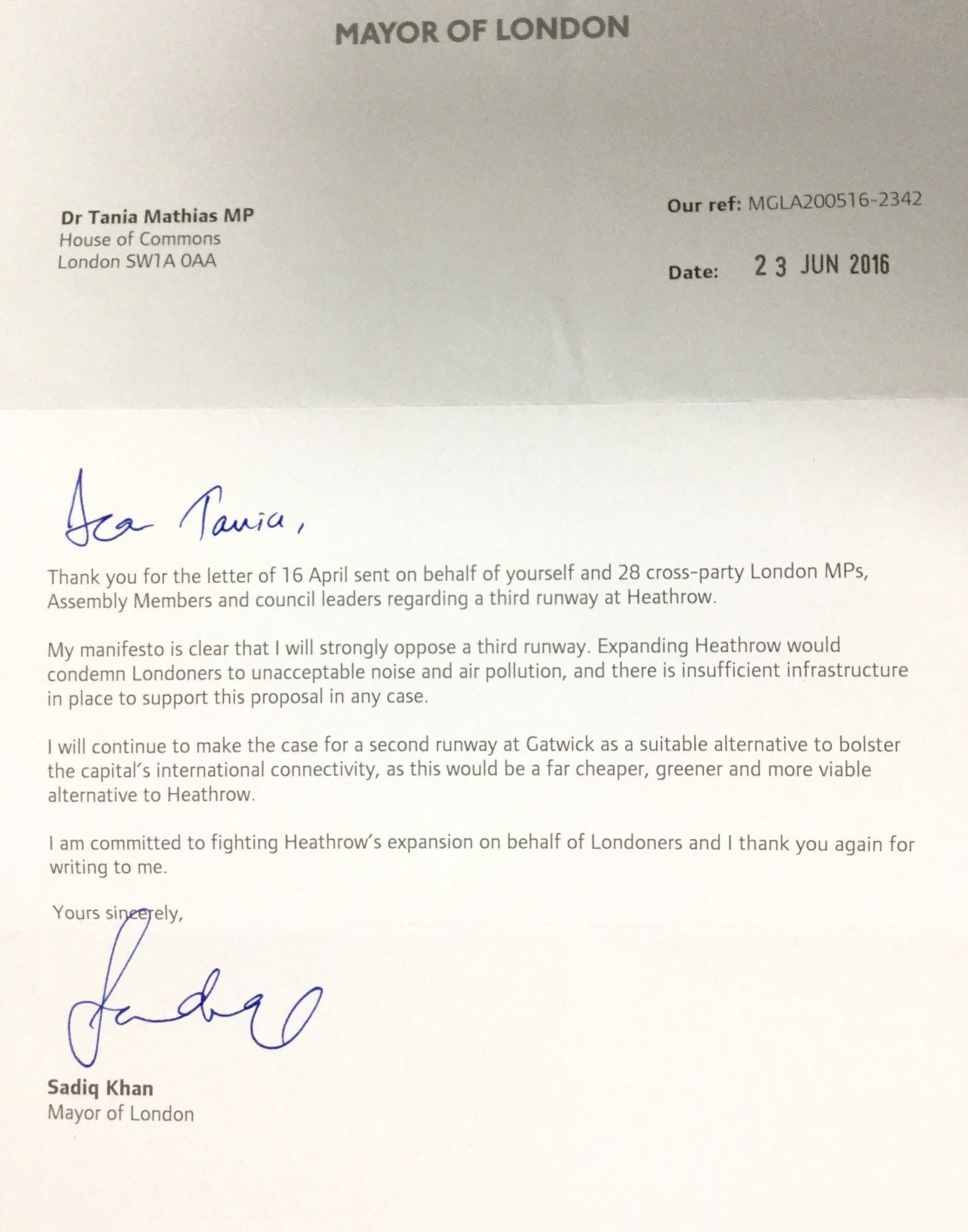 The Mayor of London's letter of support