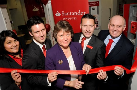 Dame Julia loves banks too – opening a branch of Spanish bank Santander