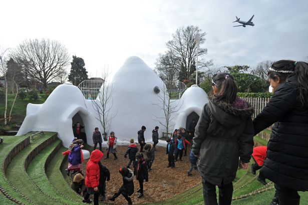 Adobe huts and plastic grass – the outdoor experience for local schoolchildren