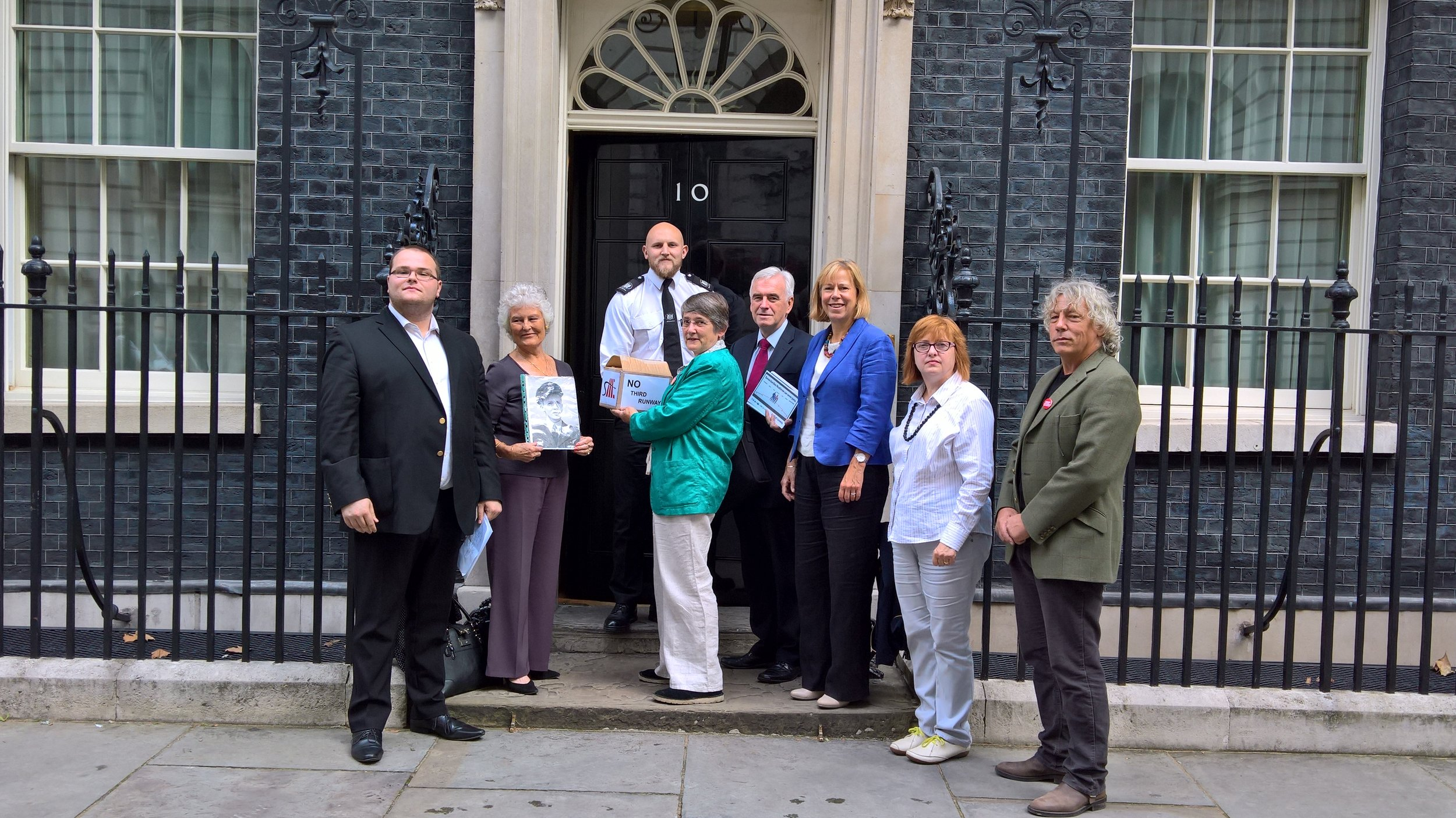 Campaign and residents with John McDonnell MP and Ruth Cadbury MP at 10 Downing Street, 12 Sep 2016