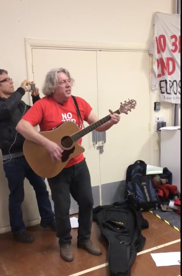 Harmondsworth resident sings his anti-runway song, written last time his home was under threat