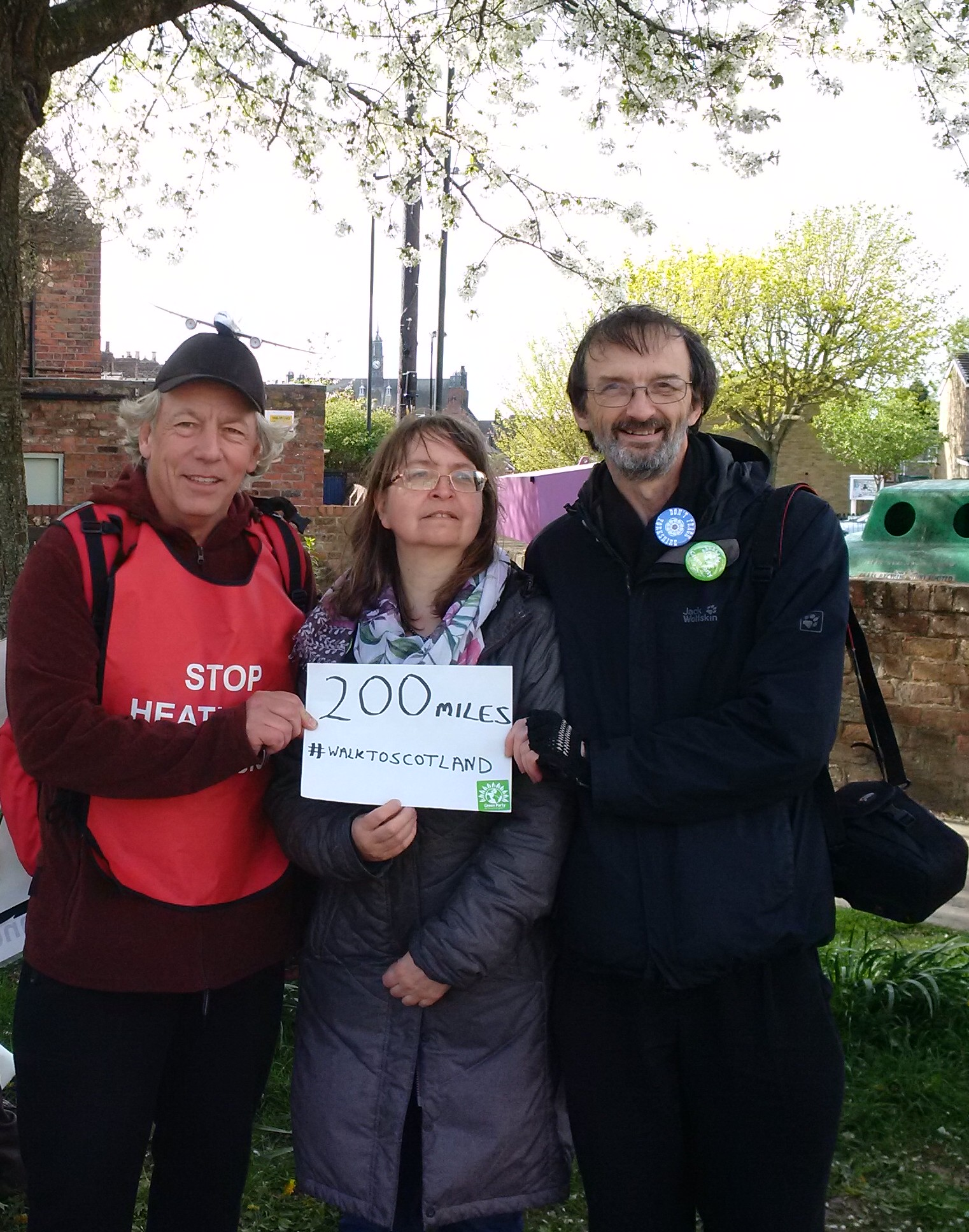 York City Councillors Andy D'Agorne and Denise Craghill meet Neil as he passes the halfway mark on Saturday afternoon