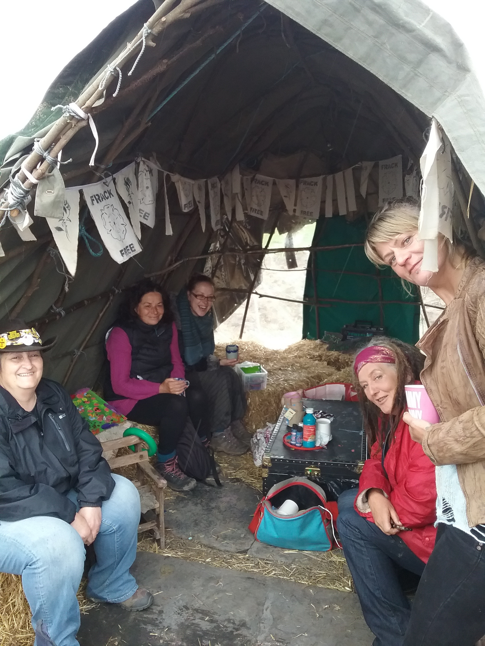 Committed anti-franking campaigners brave the conditions in the camp