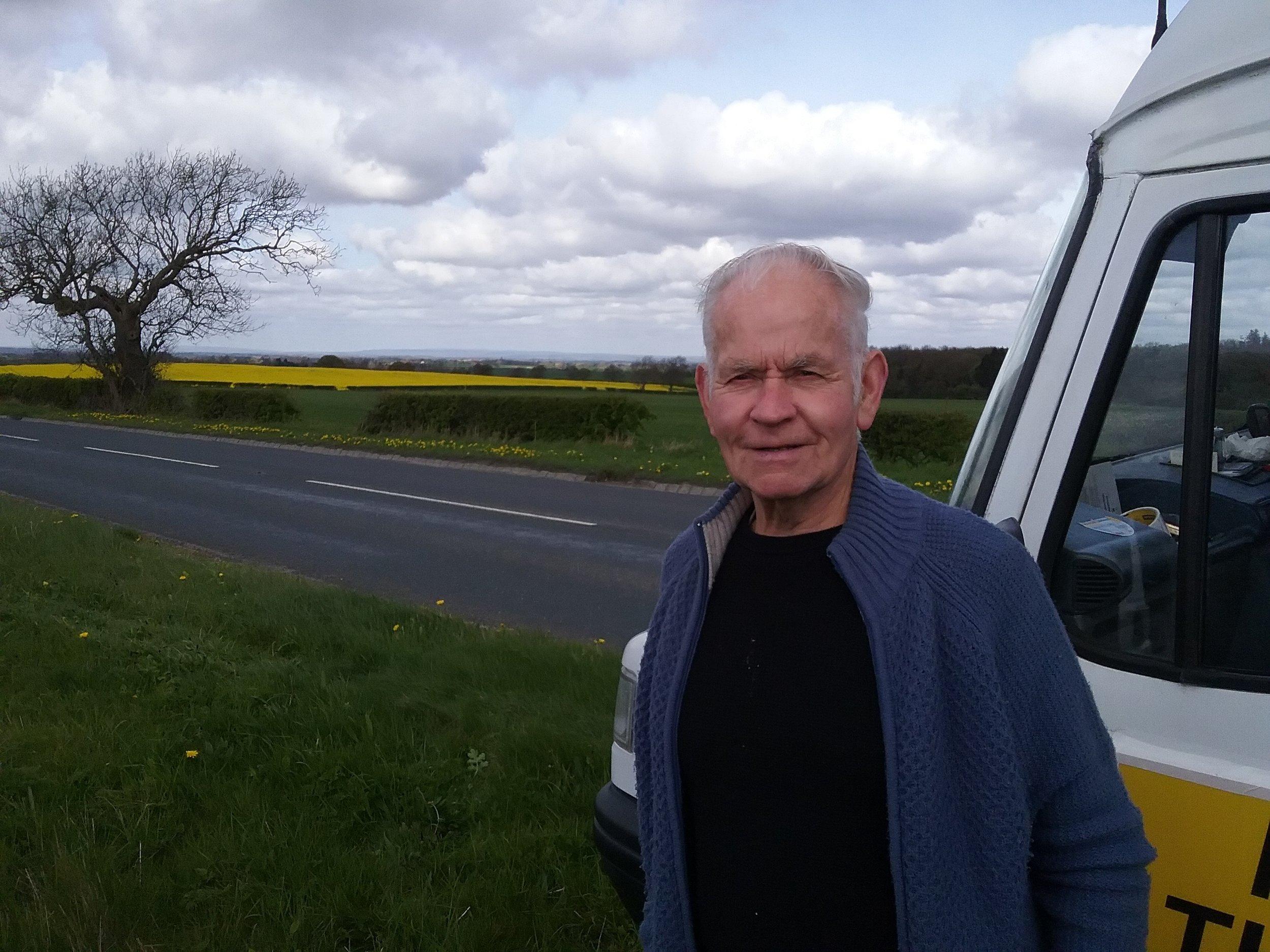 Ray enjoys the scenery 7 miles from Darington