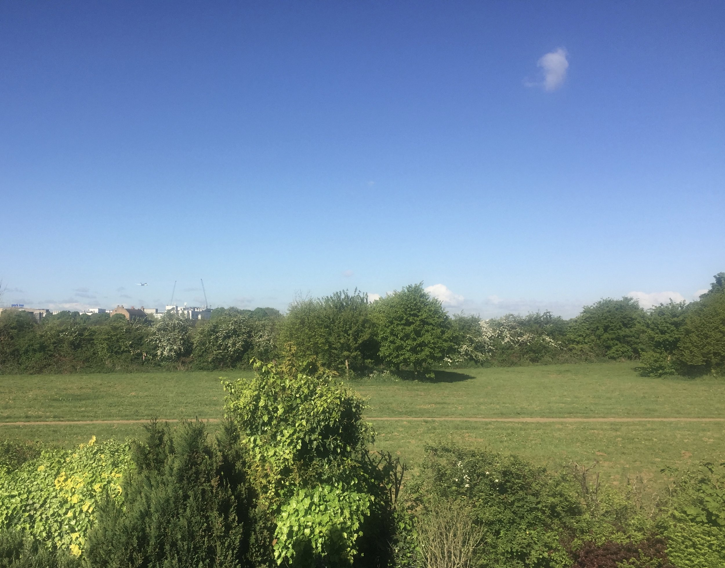 Parkland in the Heathrow Villages, which would be unusable with Heathrow expansion. There was just one cloud in the sky first thing this morning - you can't see the particulates.
