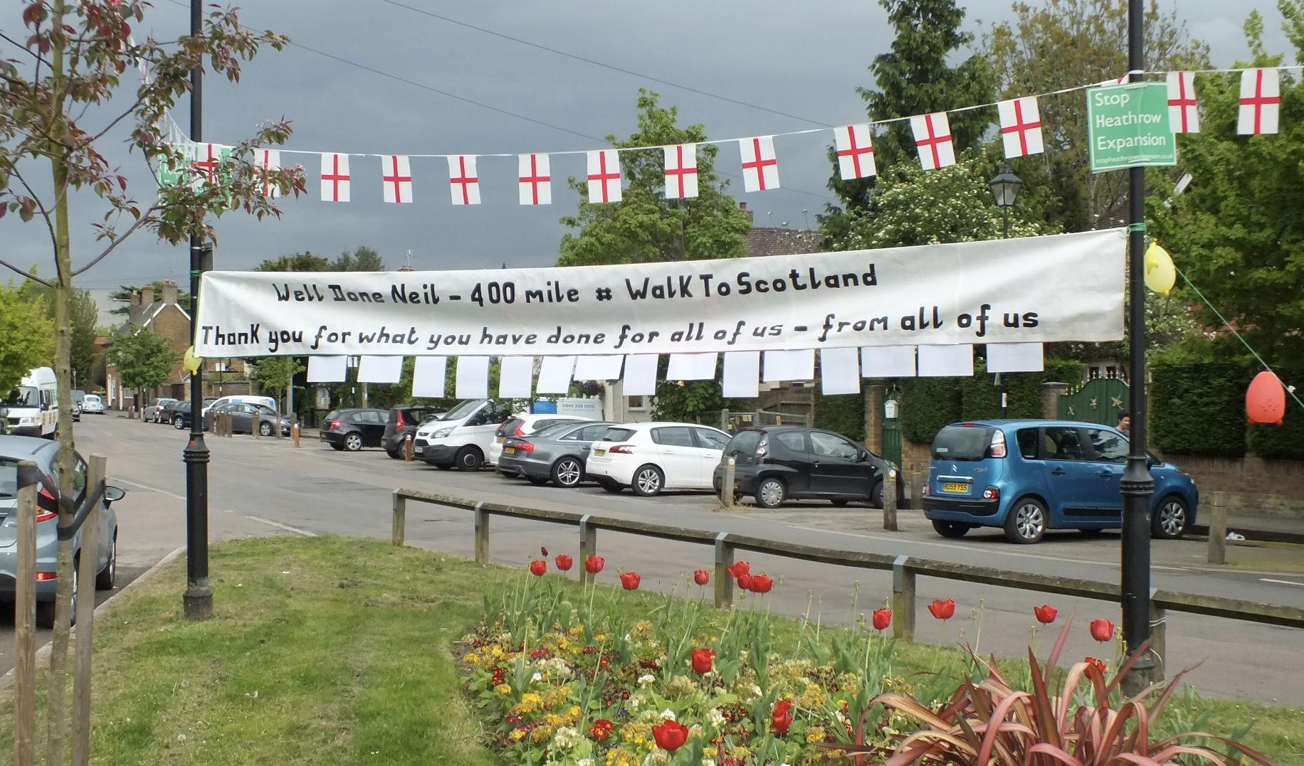 Banner across the village green.