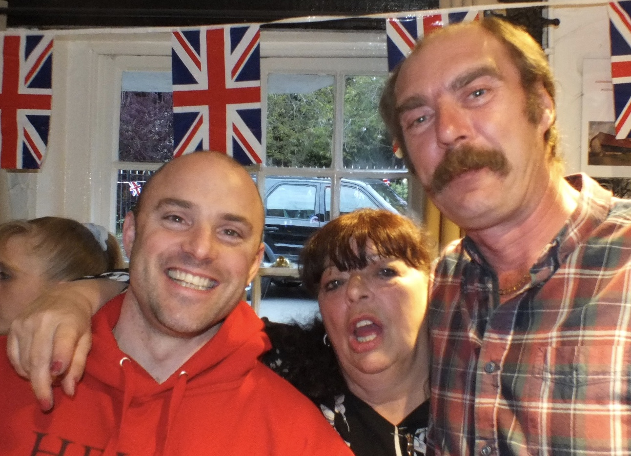 Danny, who helped with planning and technology,with Kris and Roy who run the pub and give SHE enormous much support with the campaign