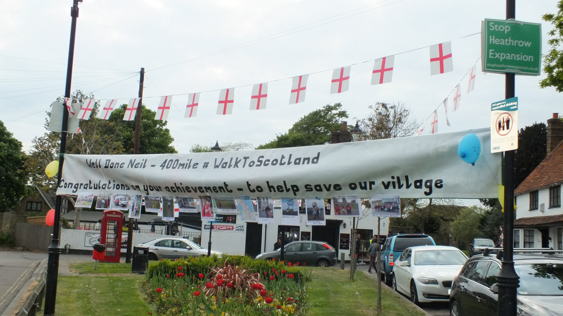Banner with photographs attached