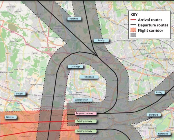 Local authorities printed maps to give an idea where new flightpaths might be for R3
