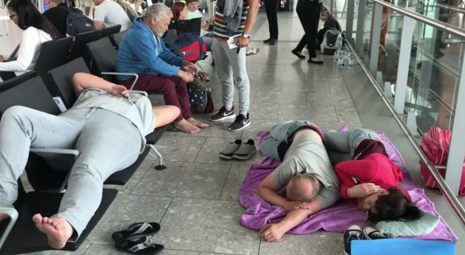 Do come back and enjoy British hospitality - Heathrow is planning more airport development with seating specially designed to prevent anyone sleeping on them. This weekend some lucky passengers were offered yoga mats to soften the hard floor.
