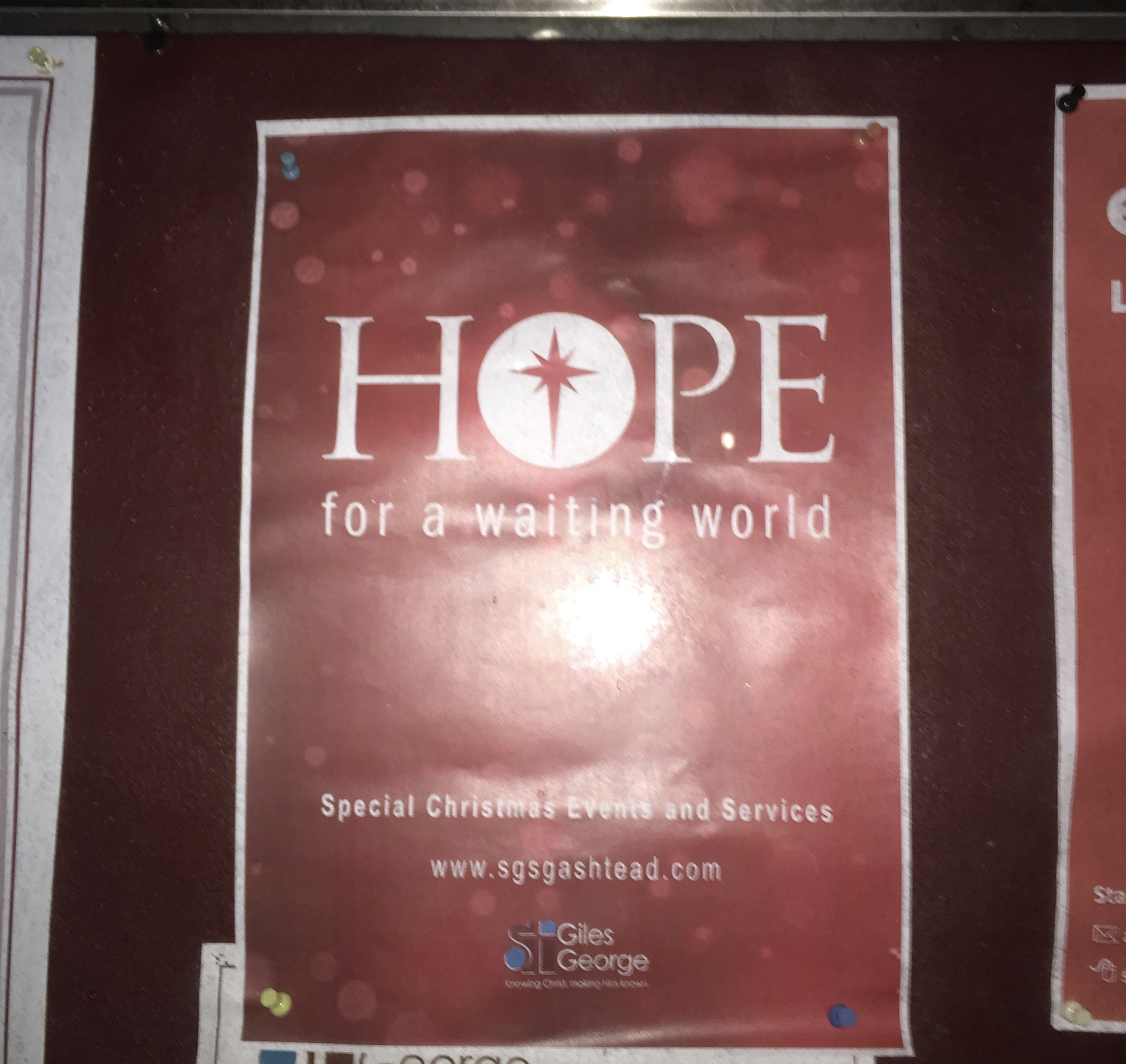 After singing of being given hope, the group passed this poster..