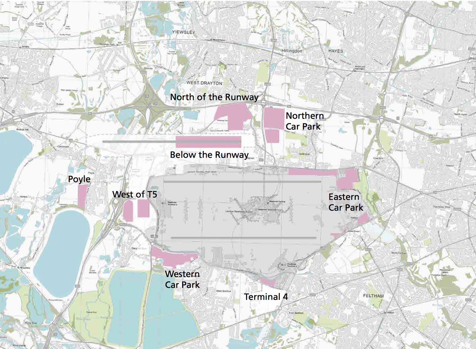 Figure showing the sites Heathrow want to build new cars parks