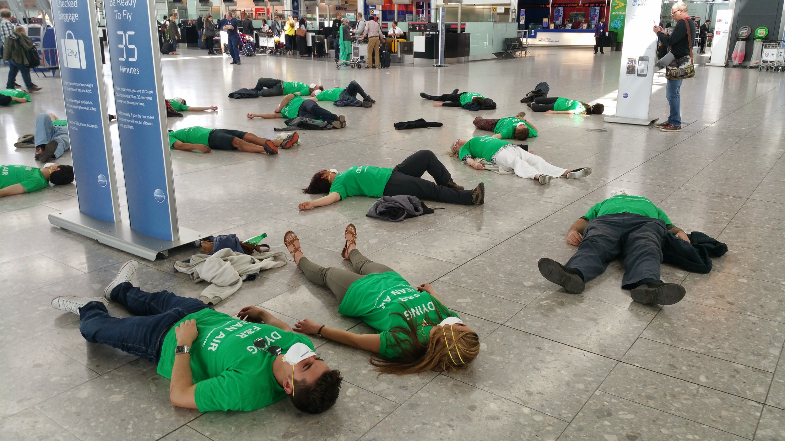 """Dying for Clean Air"" protest in Terminal Five - May 2015"