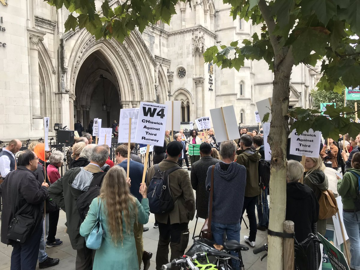 Supporters outside Court listening to Caroline Russell AM (Environment Chair, London Assembly)