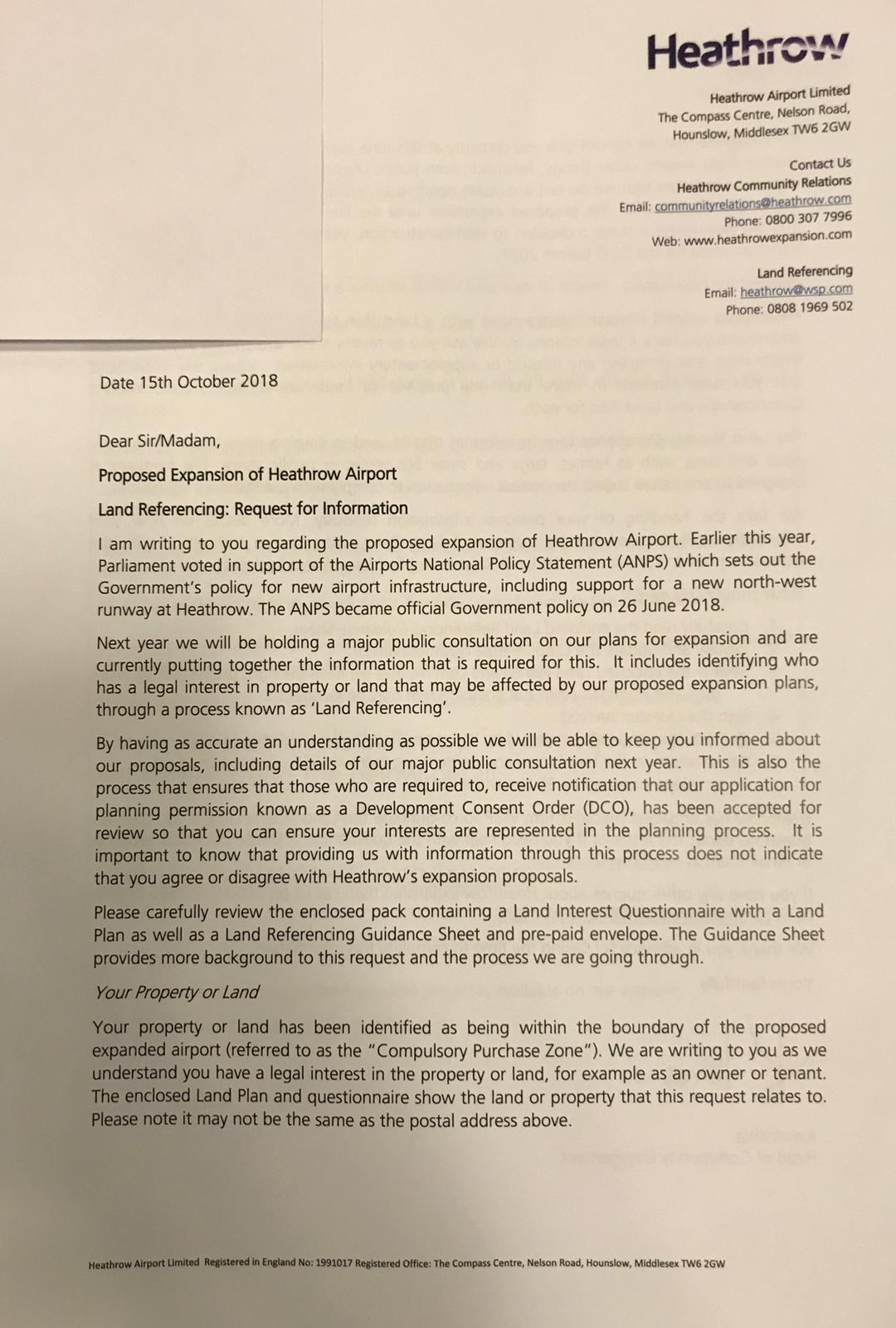 Photo of resident's letter with address covered over. Heathrow DOES NOT need your personal information for you to take part in its consultation in June 2019.