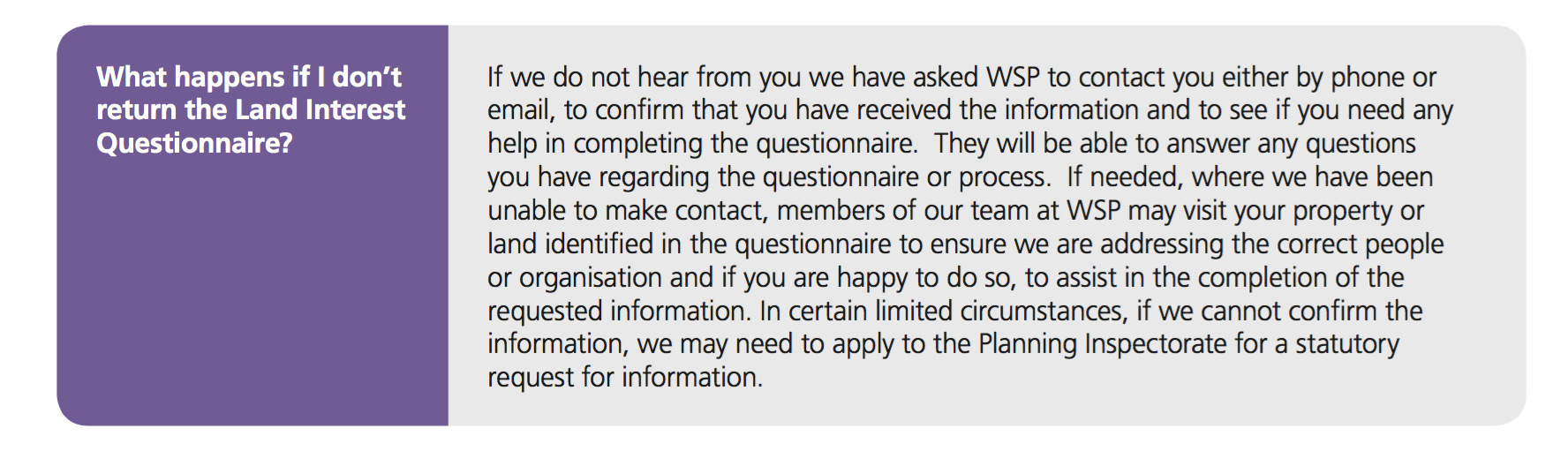 What if you don't want to give your information? Heathrow doesn't give that option just a gentle threat of possible action by the Planning Inspectorate.