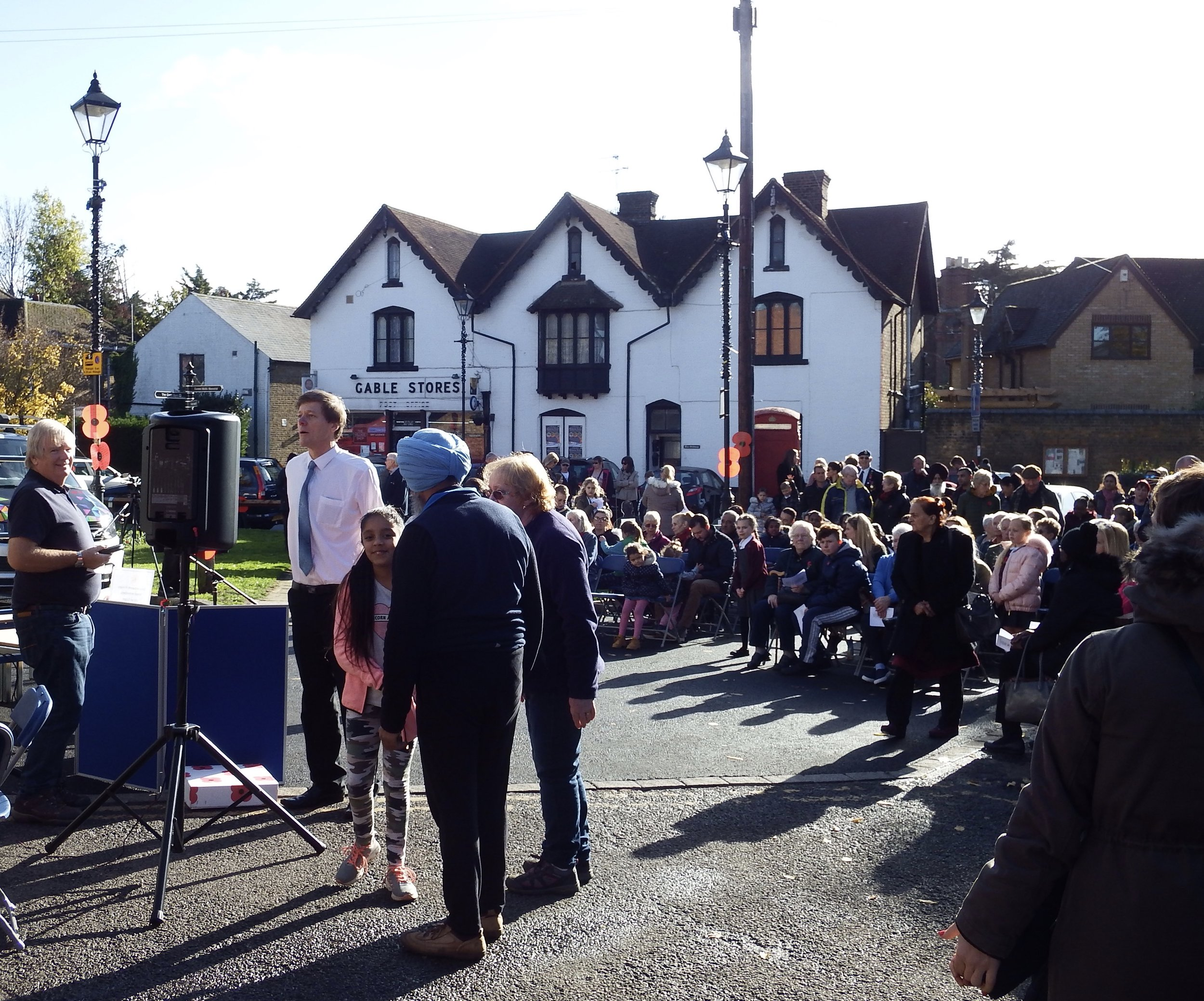 Residents organise the outdoor section of the village commemoration