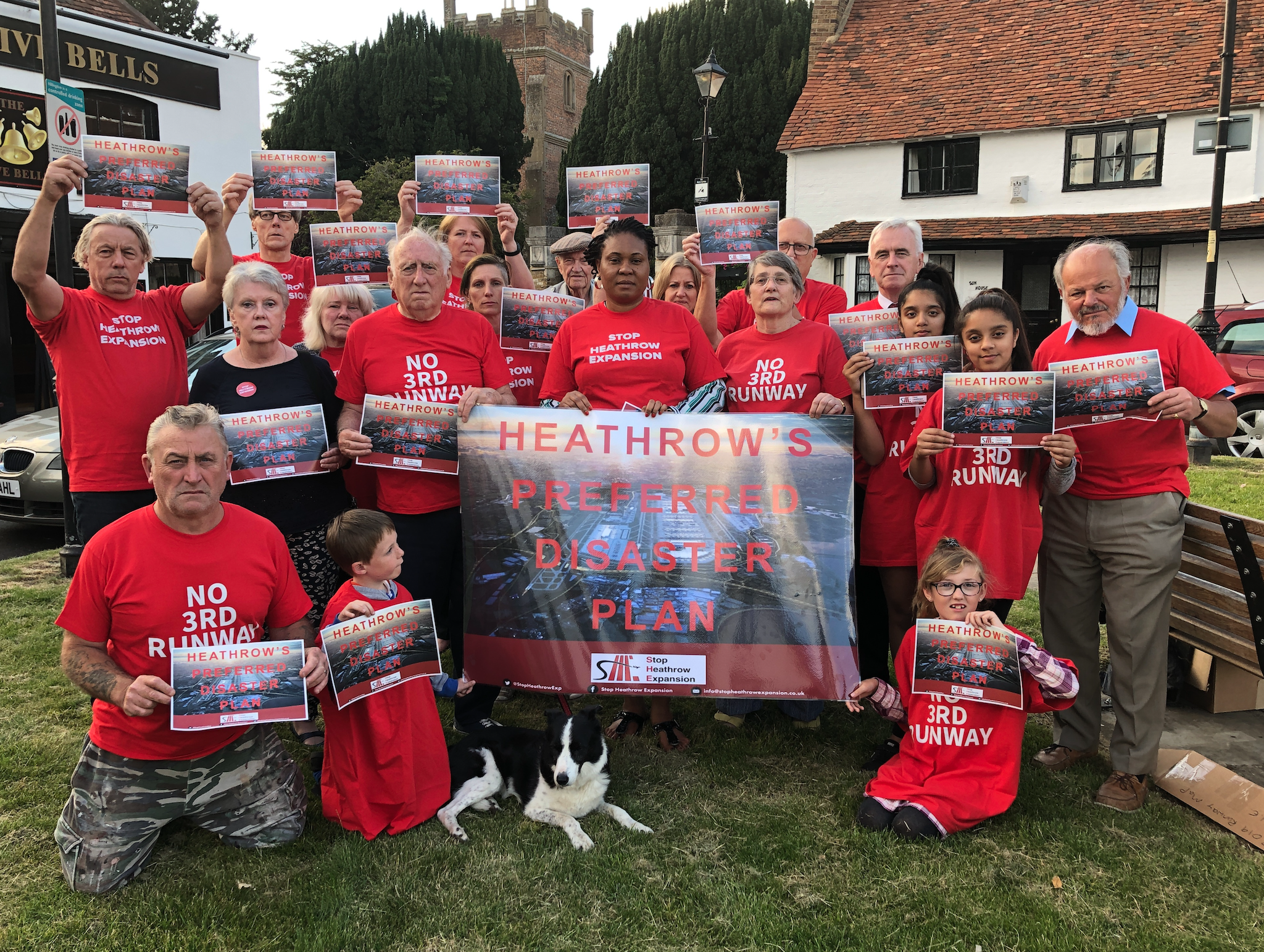 John McDonnell MP joined residents in Heathrow Villages to launch the Disasterplan campaign, July 2019