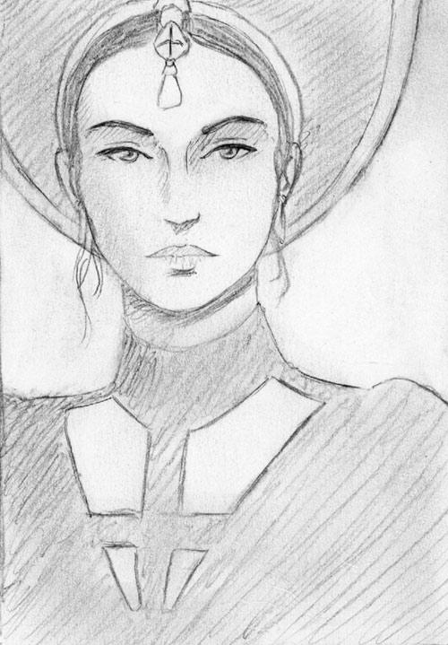 """ Sibyl "", black pencil on paper"