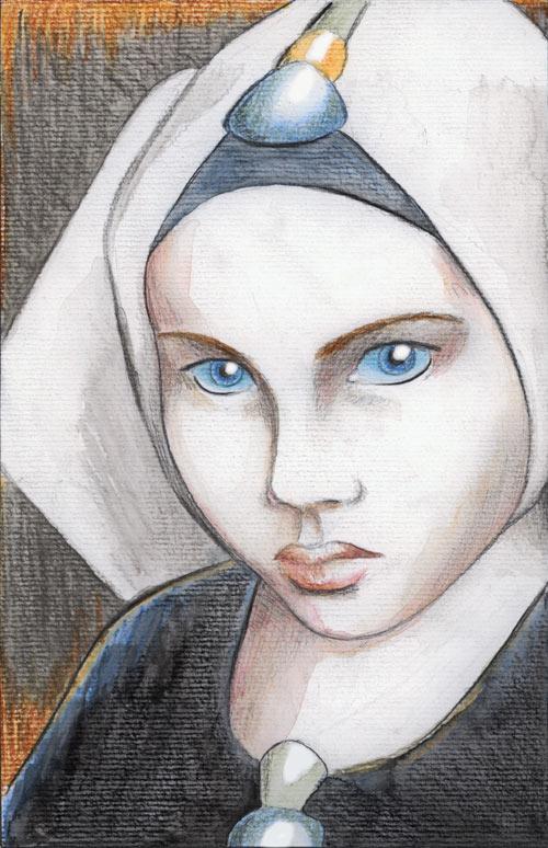 """"""" Alia """", crayon noir, crayon de couleur et aquarelle sur papier, étude pour la série """" Dune """""""