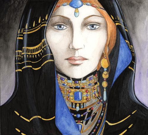 """"""" La Sybille du désert """", crayon noir, crayon de couleur et aquarelle sur papier"""