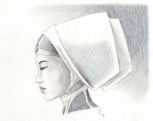 """"""" Ghanima """", black pencil and color pencil on paper, """" Dune """" series"""