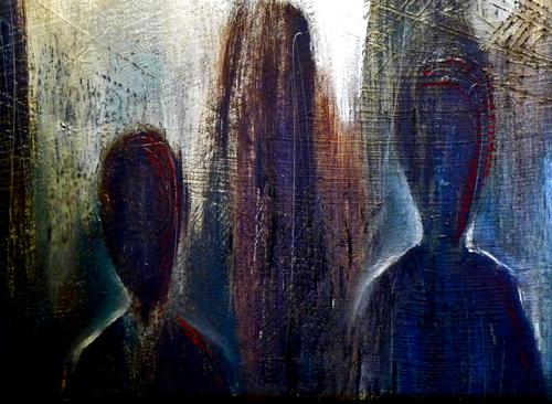 """ Shadows "", oil, charcoal and pastel on canvas, private collection"