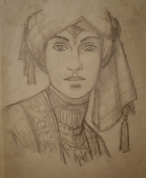 """"""" Sappho """", pencil on tracing paper"""