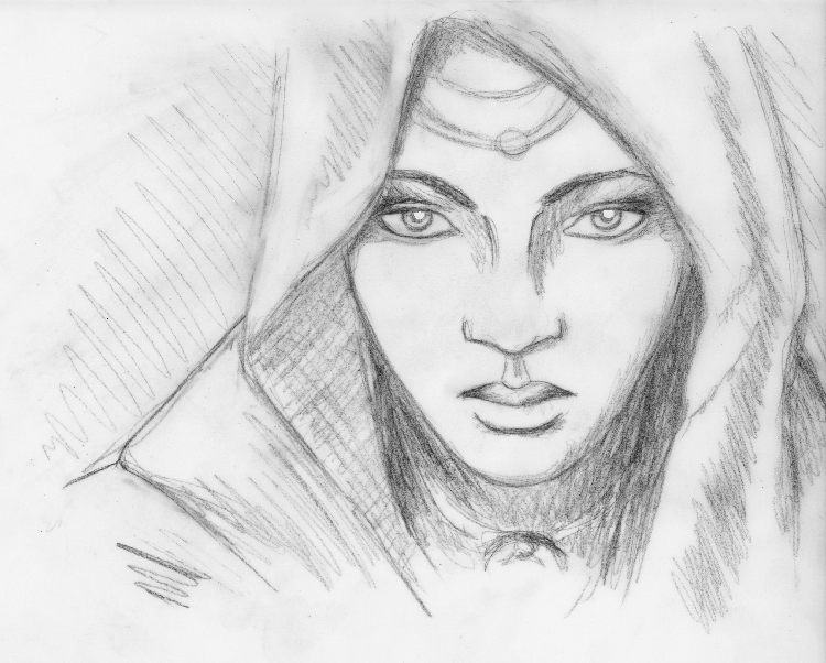 """"""" Sybil """", pencil on tracing paper"""